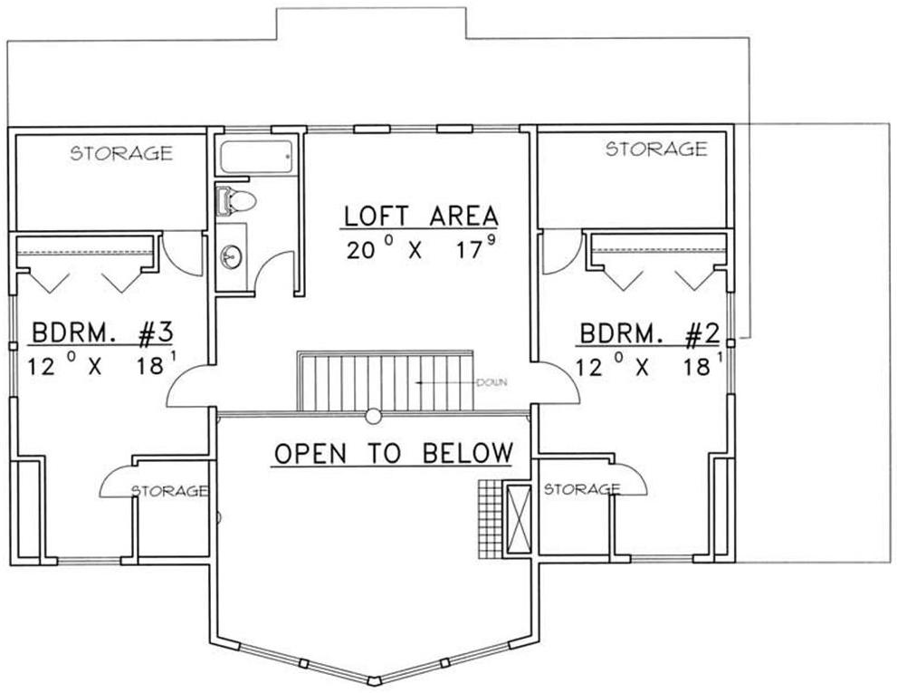 Floor plan of upper level with loft of Contemporary Rustic Plan #131-1313