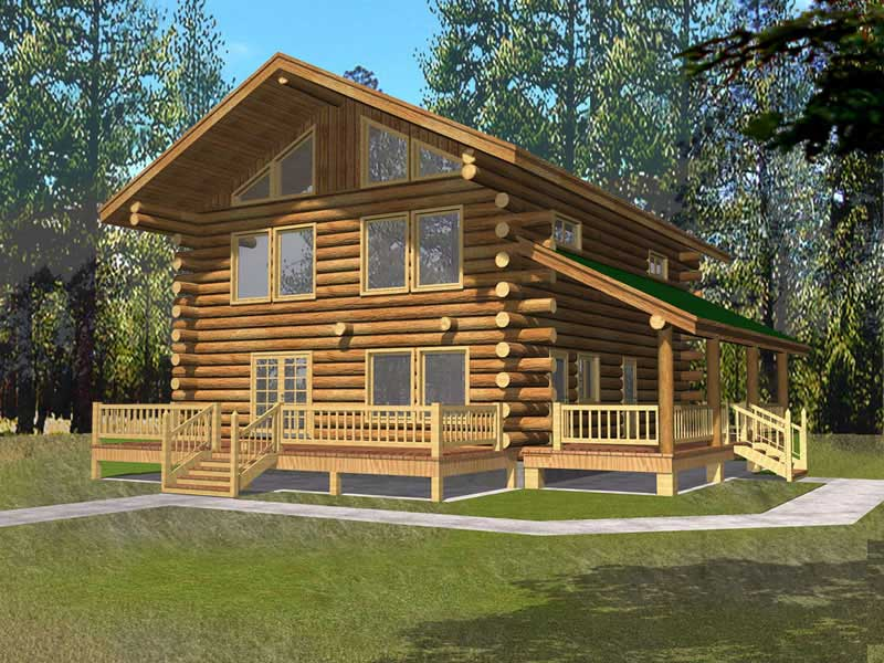 Log Cabin style home with very wide roof overhangs and front and side porches