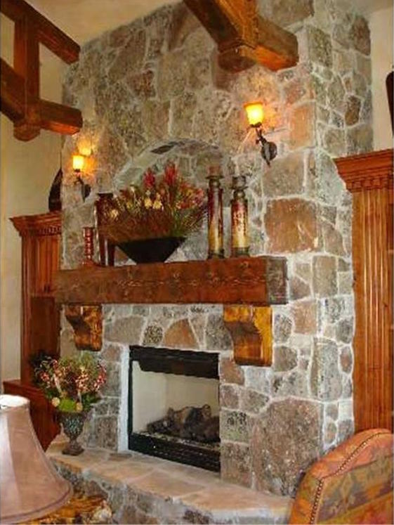 Fall-decorated fireplace in home plan #135-1018