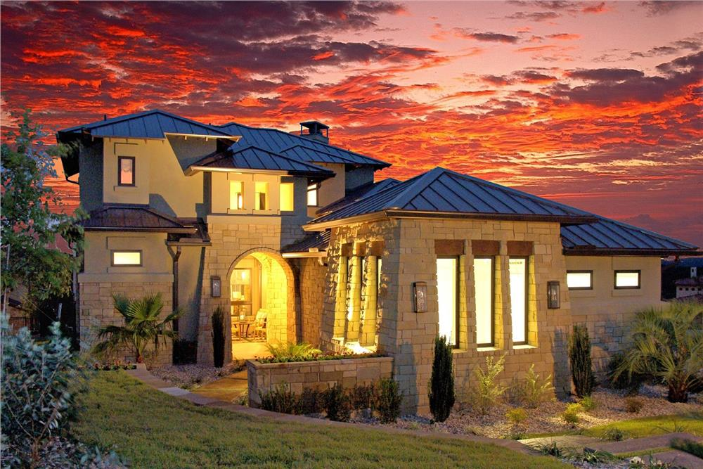 Tuscan style house plan #136-1030 with metal roof