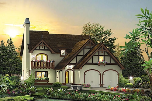 Updated Tudor style home in white stucco with exposed framework