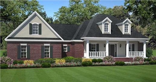 Plan #141-1066 Traditional Ranch House with Front Porch