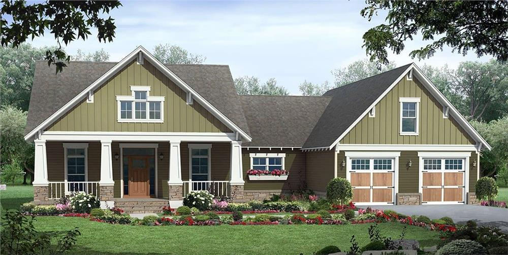 Craftsman style home with white trim and symmetrical features