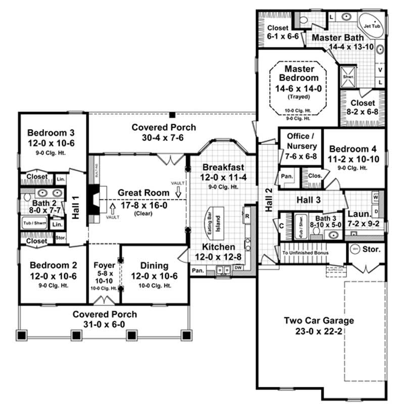 Floor plan for house plan #141-1060
