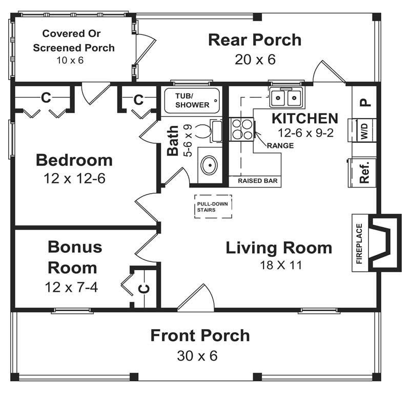 Floor plans for small house plan #141-1140