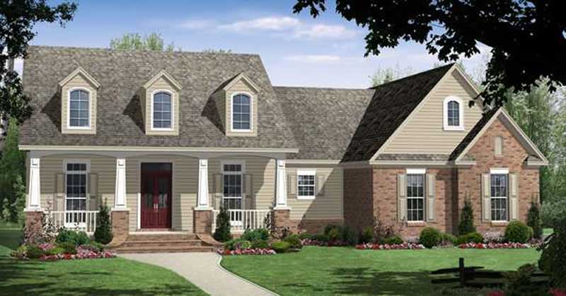 Country style ranch plan #141-1211 with 3 dormers