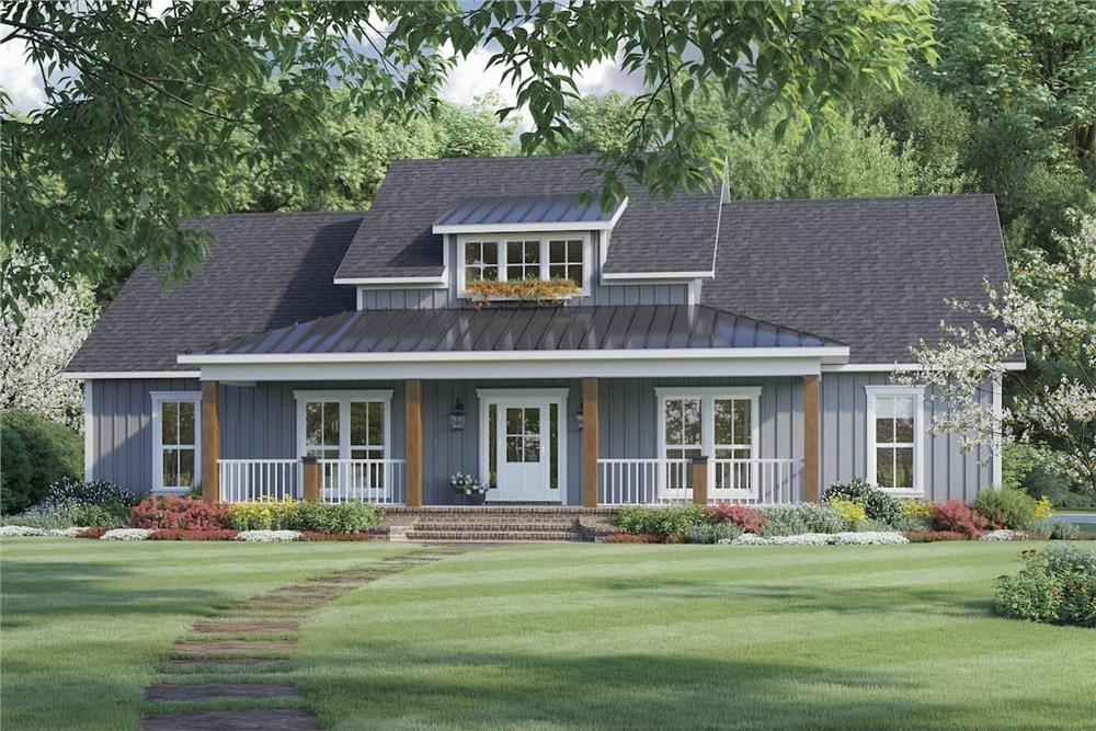 Gray Ranch style Farmhouse with metal dormer and front porch roofs