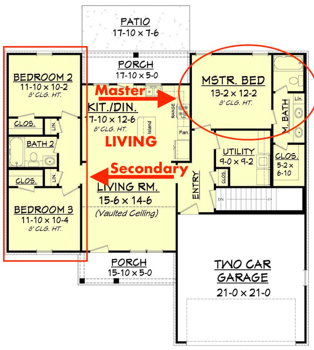 Floor plan of Plan #142-1046 showing split bedroom layout with notation