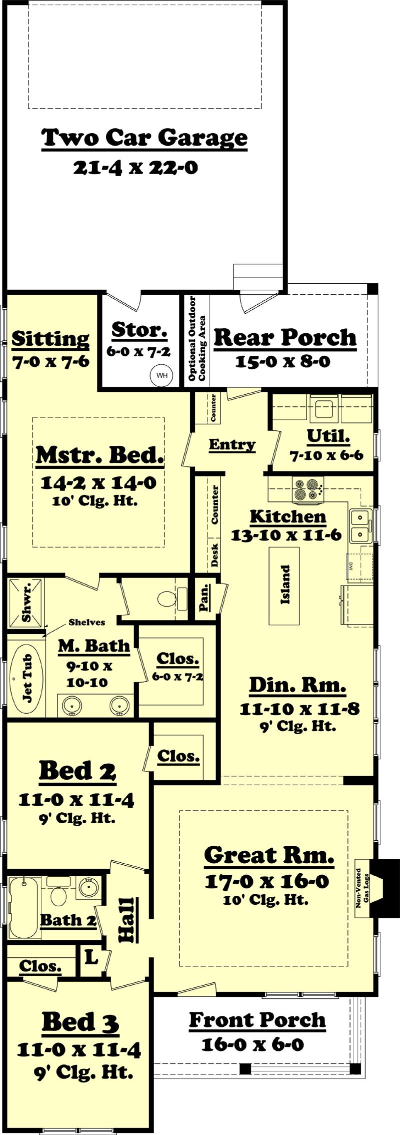Floor plan of house plan #142-1060