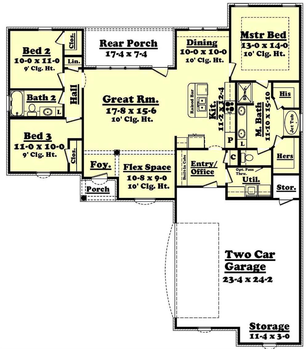 Floor plan layout of Acadian style home - plan #142-1063