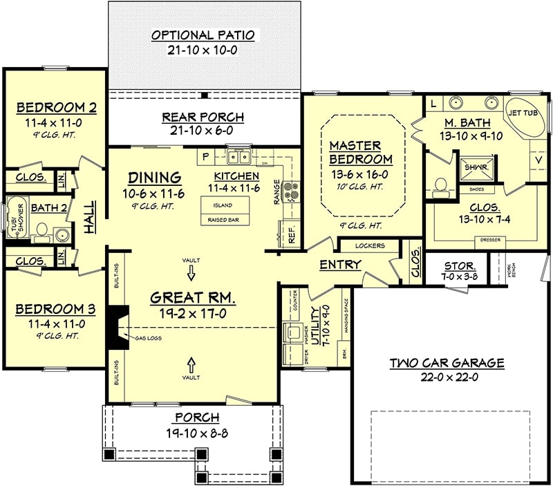 Floor plan for Plan #142-1067 showing split bedroom layout