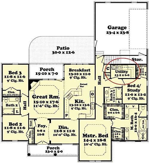 Floor plan of plan #142-1098