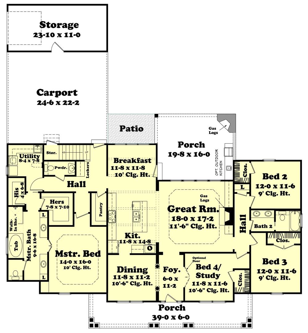 Floor plan of one-story Traditional style Plan #142-1131 with dormers
