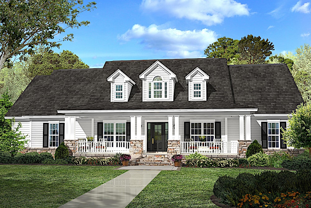 Traditional style one-story home with dormers and front porch