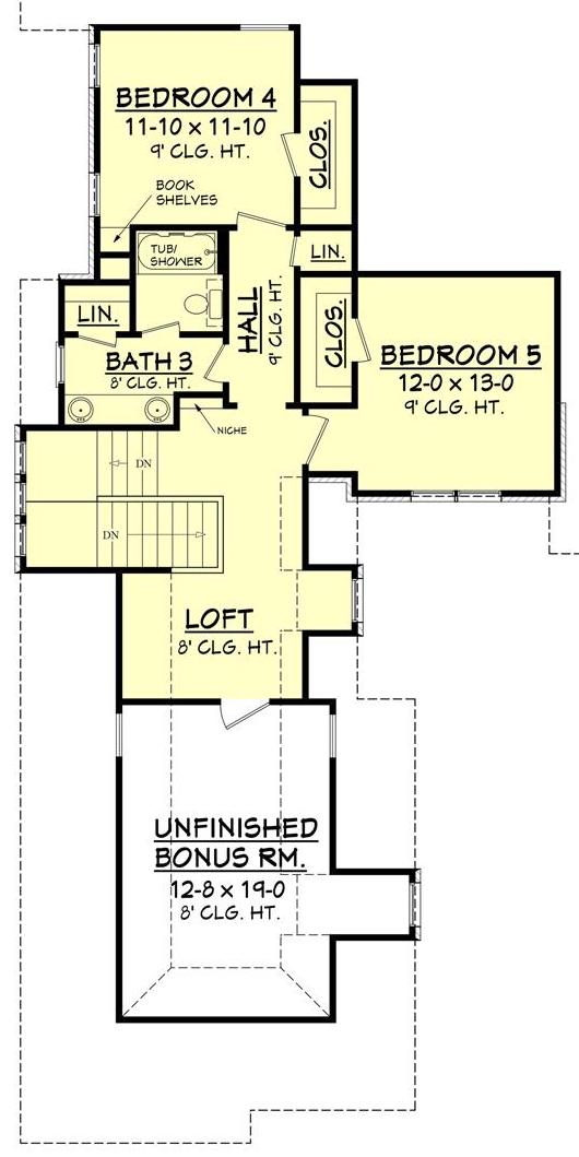 Upper level floor plan of European style Plan #142-1134