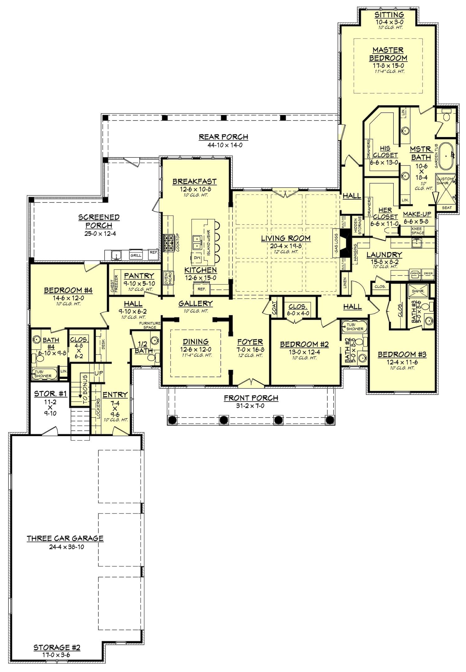 Floor plan of house plan #142-1140