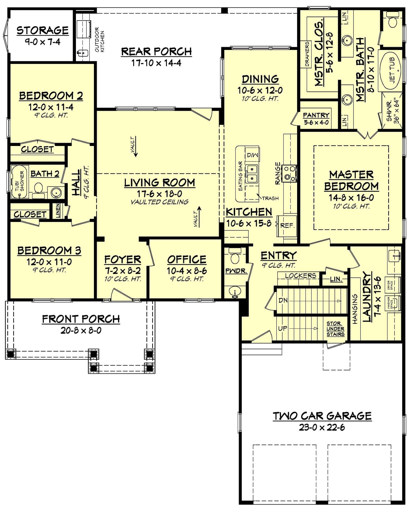 Floor plan for house plan #142-1158