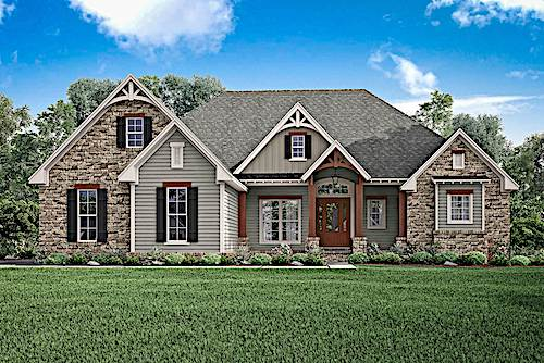 Country style home with stone and wood siding and decorative gable ends