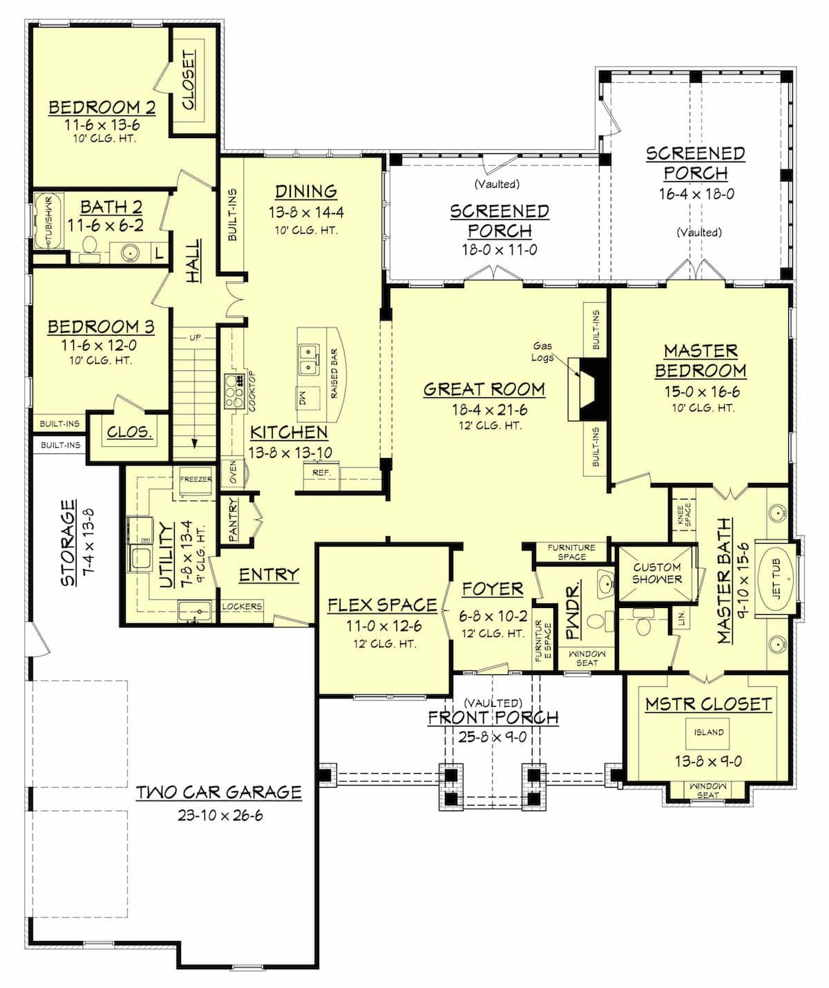 Main-level floor plan of house plan #142-1168