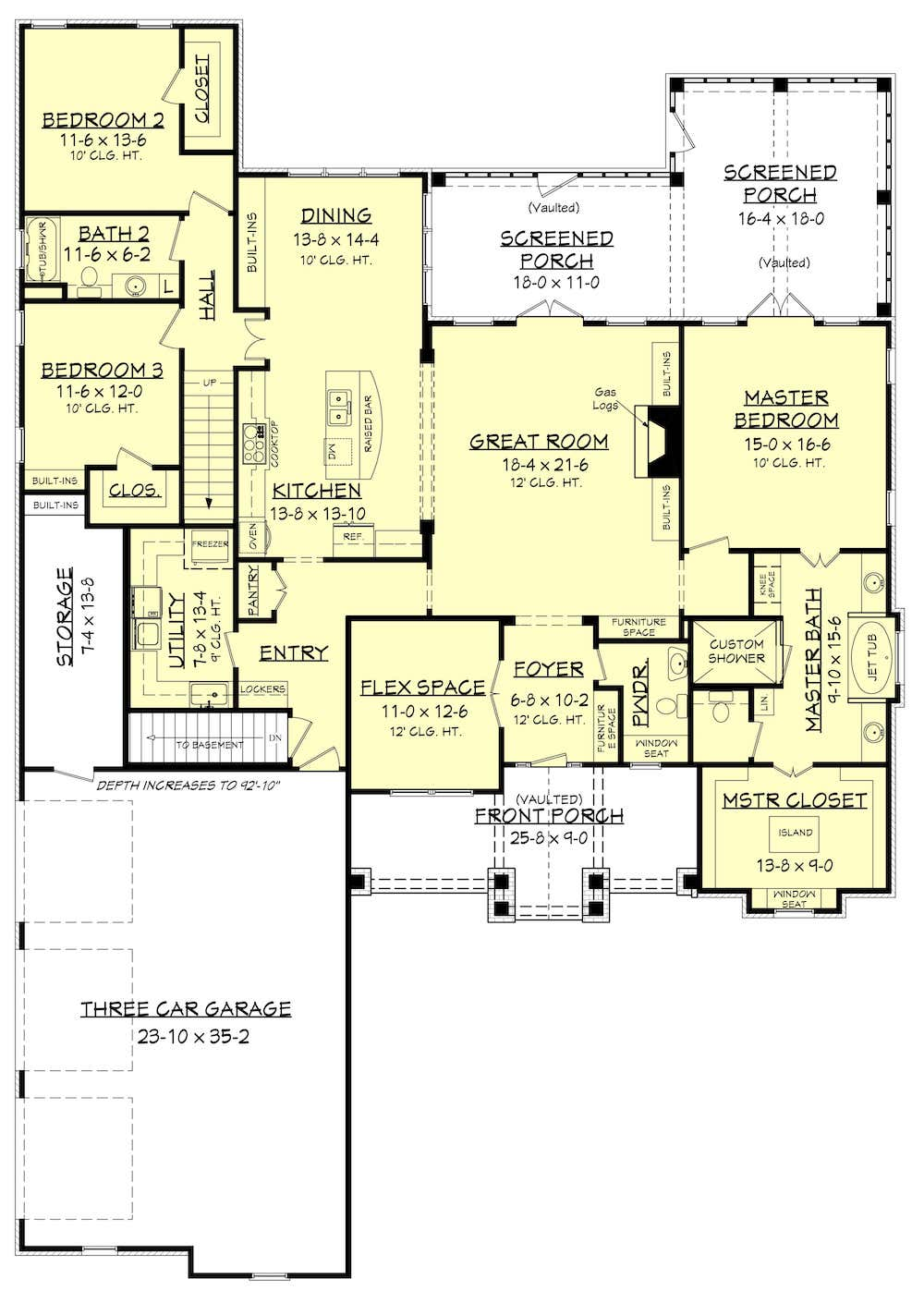 Floor plan of 3-bedroom, 2.5-bath home with split-bedroom layout