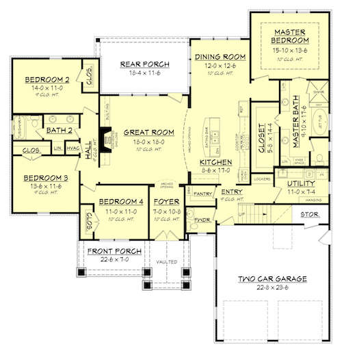Floor plan of transitional Craftsman style house plan #142-1173