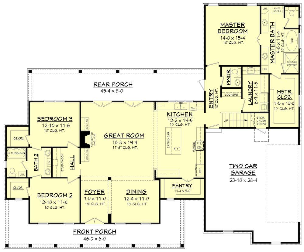 Floor plan of L-shaped Farmhouse style Plan #142-1180