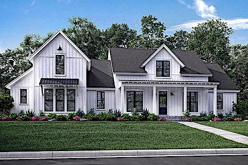 Transitional farmhouse with porch