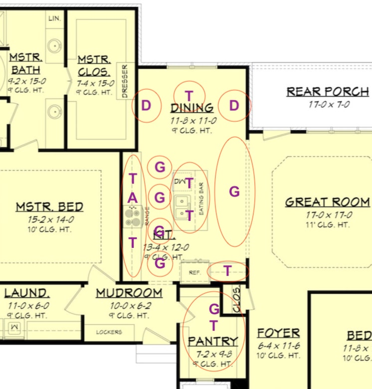 Kitchen floor plan for house plan #142-1192