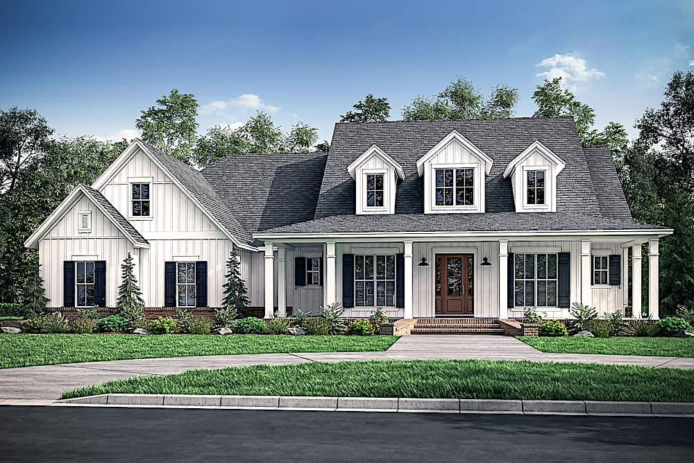 Transitional Farmhouse style home with board-and-batten siding and front porch