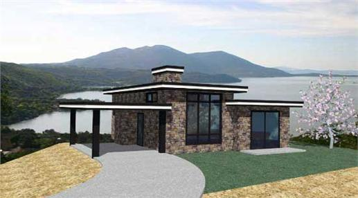 This is the front elevation for these Modern Home Plans.