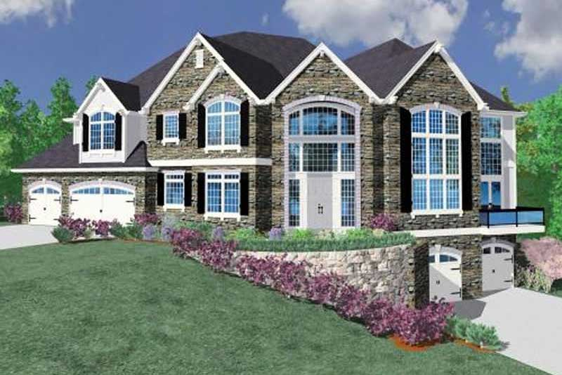 Corner lot house plan #149-1057 with privacy from neighbors on the left side