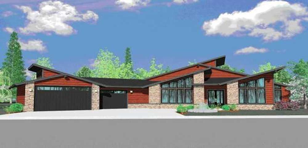 3-bedroom, 3.5-bath contemporary house plan #149-1182, reminiscent of the Incredibles' imaginary home