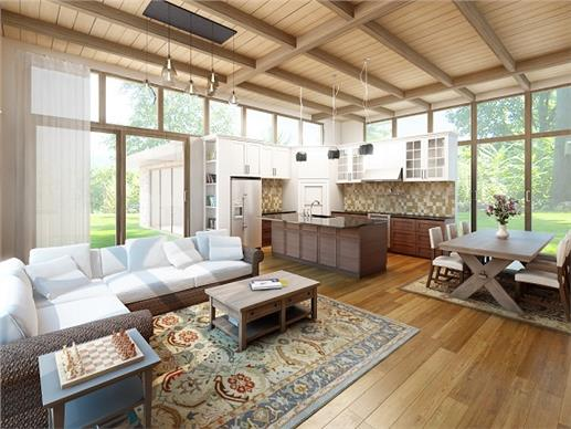 Interior view of open floor plan - living / dining / kitchen area