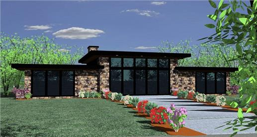 very attractive one-story modern plan (#149-1837) features two bedrooms, two baths, large windows