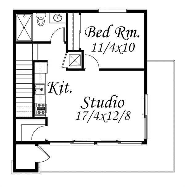 Garage floor plan - second floor - above garagae