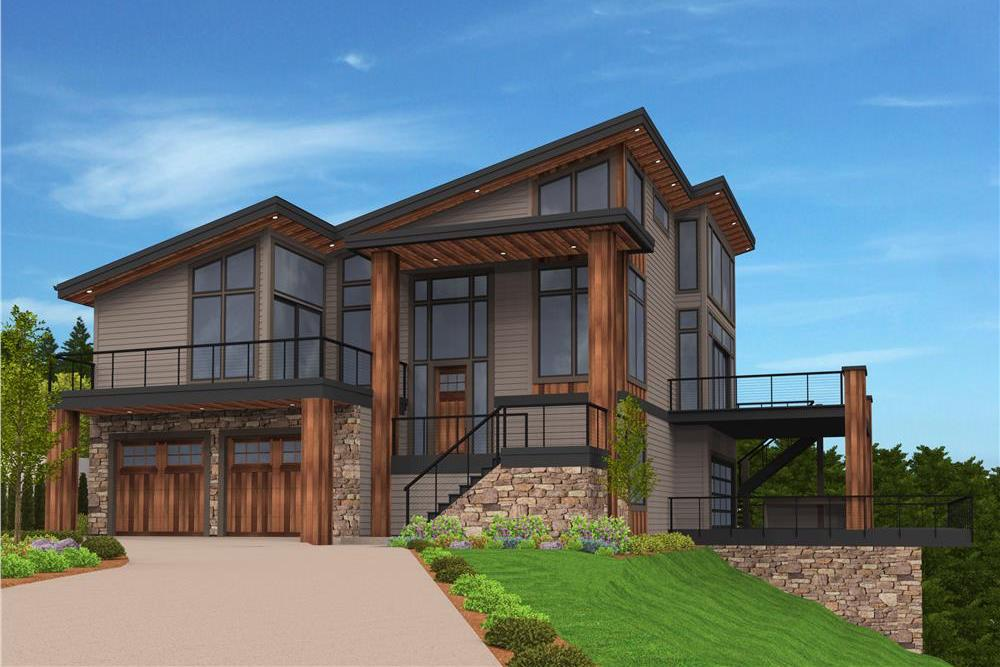 Contemporary style home with Country influences on up site with view (house Plan #149-1876)