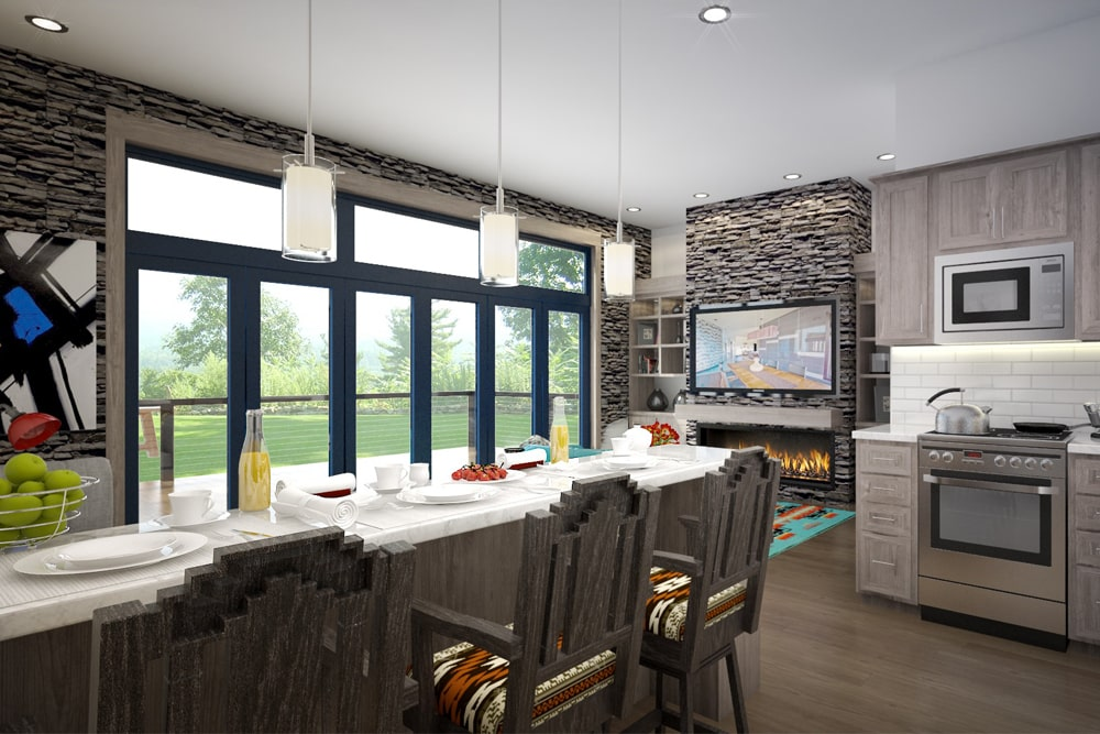 Kitchen and dining area in 2-bedroom, 1-bath Modern home