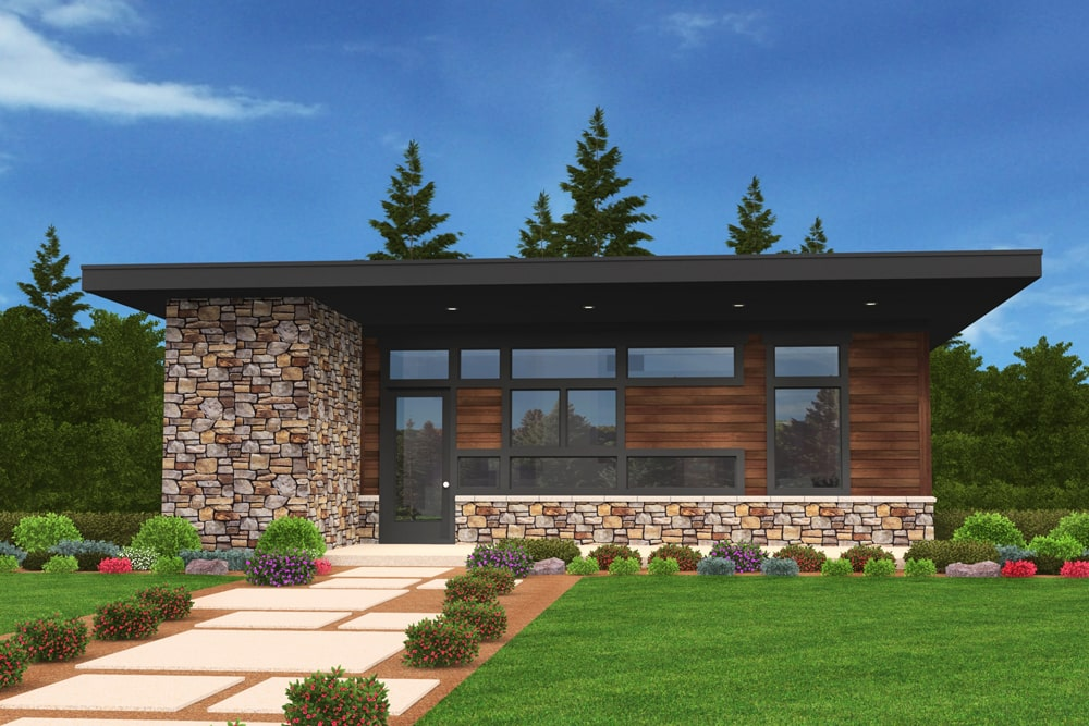 Modern style home with stone and wood siding
