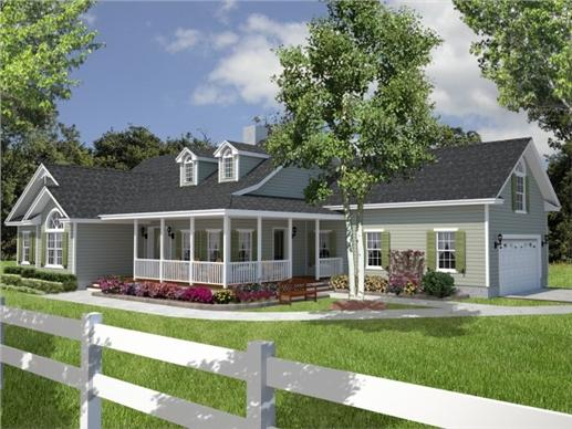 Side view of this 3-bedroom cottage with wrap-around porch