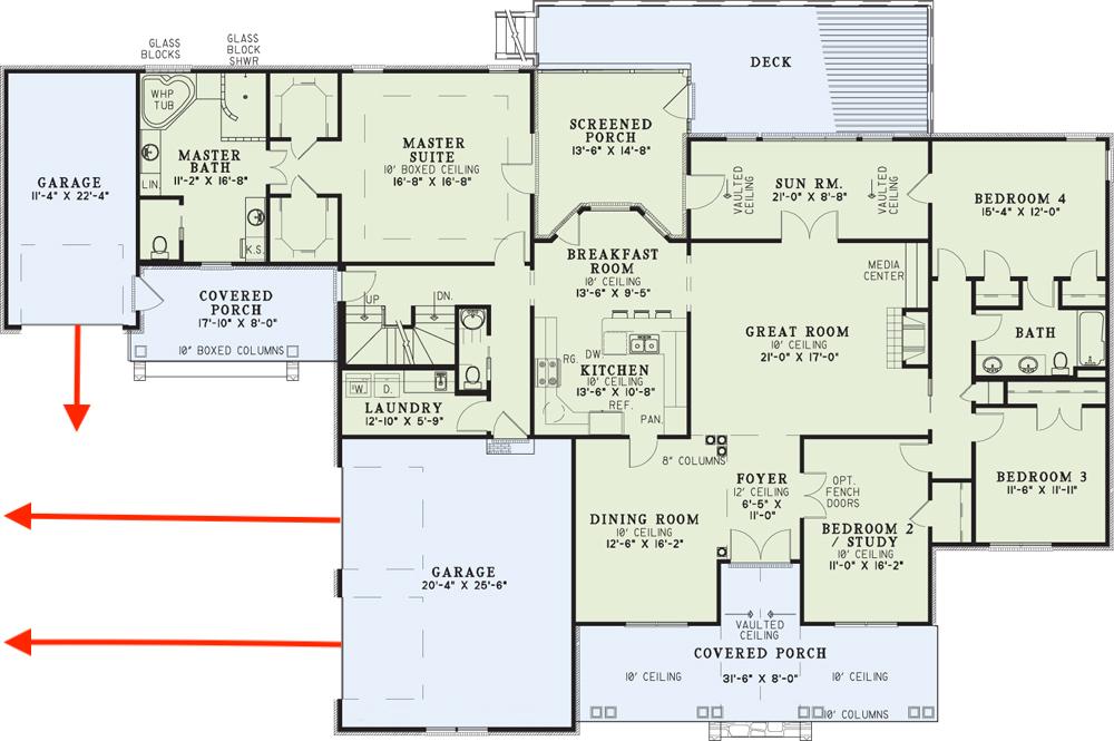 Floor plan for corner lot house plan #153-1021