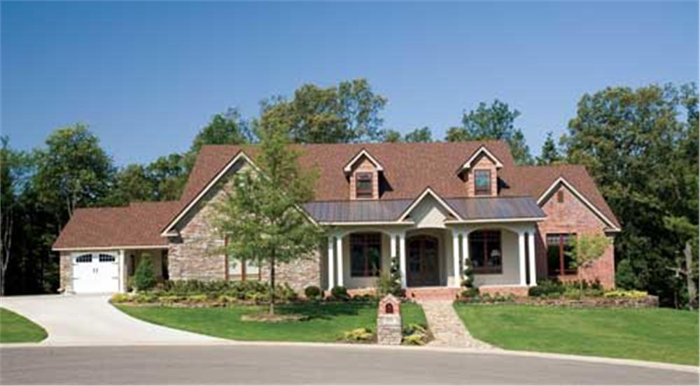 Luxury Country style home that has a bonus area with private entrance over the garage (House Plan #153-1021)