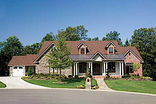 Corner lot house plan #153-1021 with stone siding and front porch