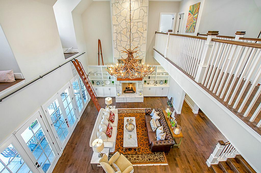 View of Great Room from upstairs in house plan #153-1121