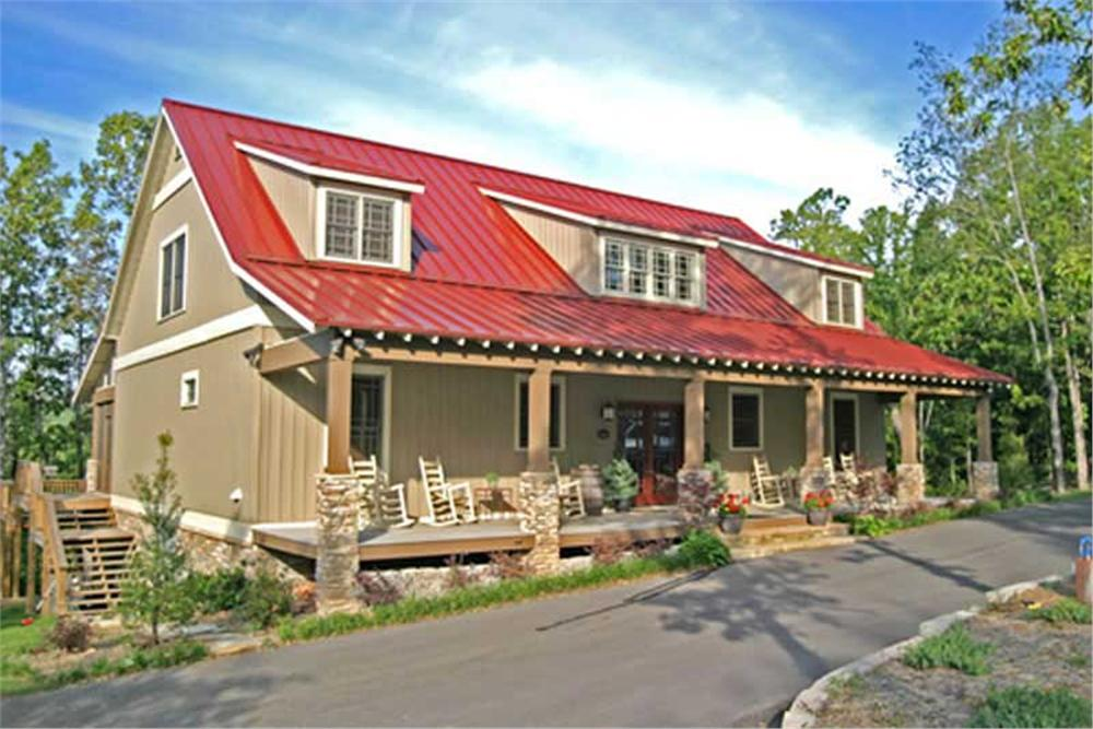Colorful metal roof on Farmhouse style house plan #153-1313