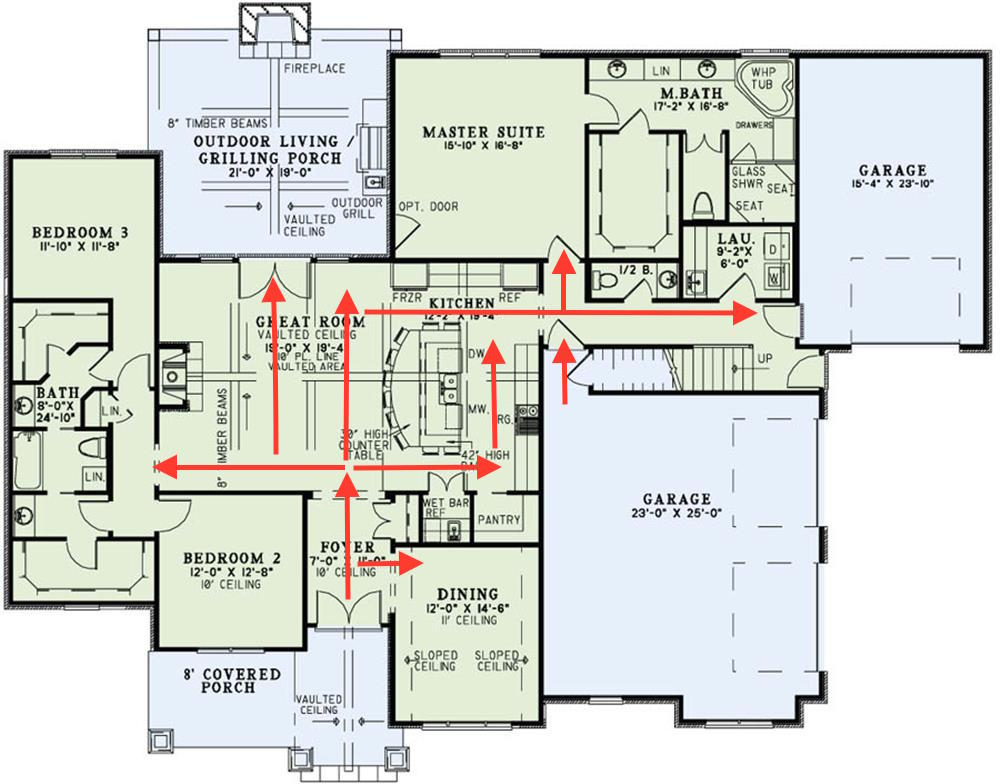House plan traffic patterns more green lights and fewer for House floor plans with pictures