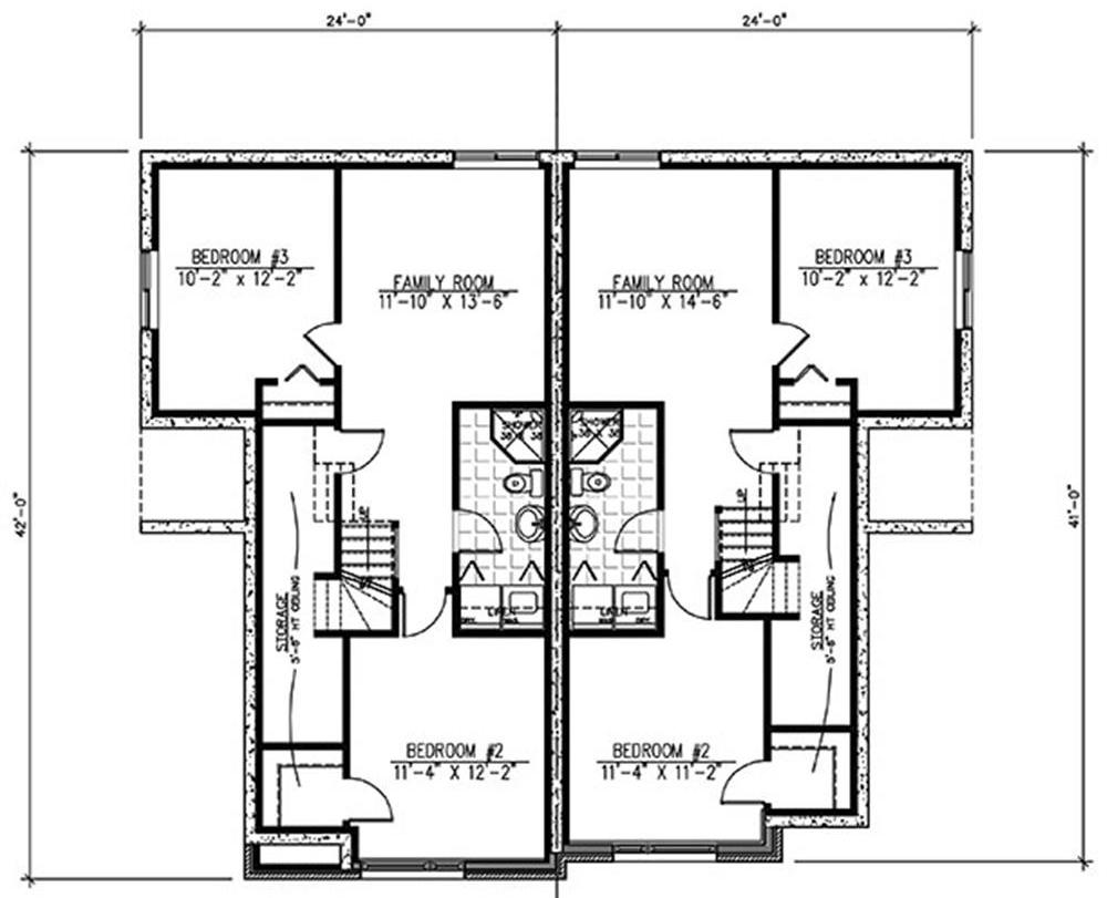Lower Level floor plan for duplex House Plan #158-1283