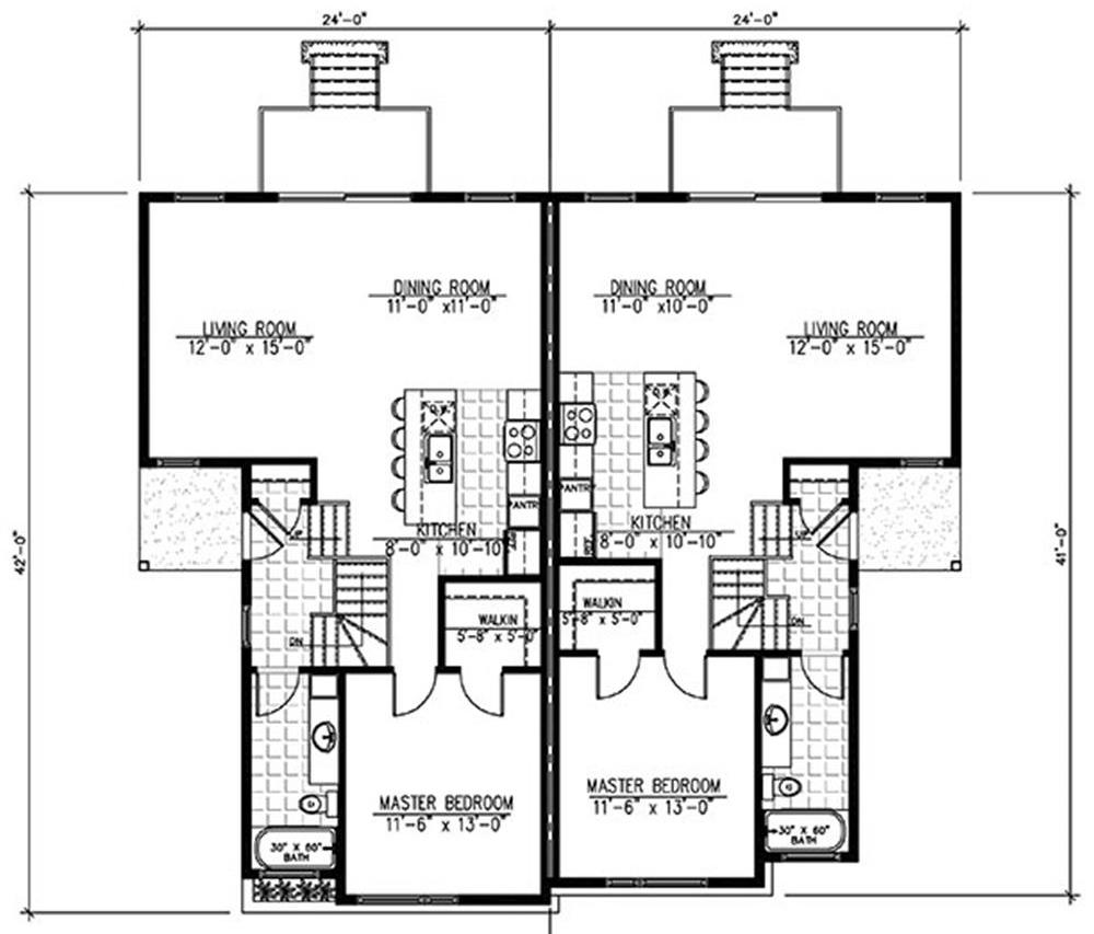 Main flor florr plan for duplex House Plan #158-1283