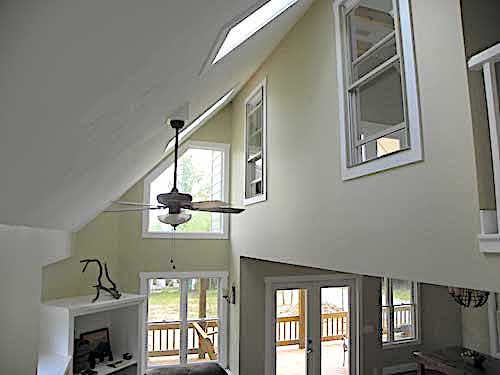 Vaulted ceiling of Great Room in vacation cabin