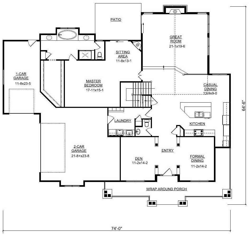 Main floor plan of house plan #161-1001