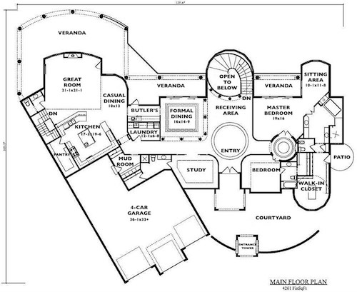 Main-level layout of Luxury Mediterranean home (plan # 161-1034) with 4261 square feet of living space and 2 to 3 bedrooms, if you use the study as a bedroom suite